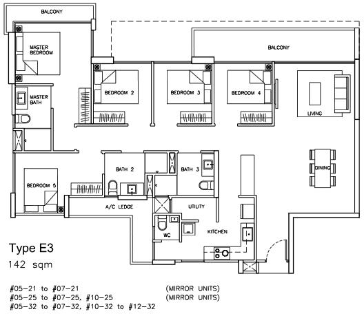 Sea Horizon Floor Plan 5 Bedroom Type E3