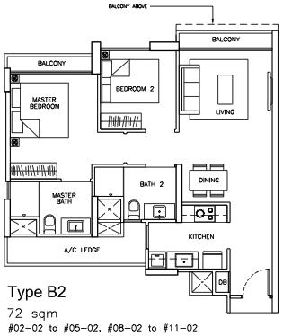 Sea Horizon EC Floor Plans 2 Bedrooms Type B2