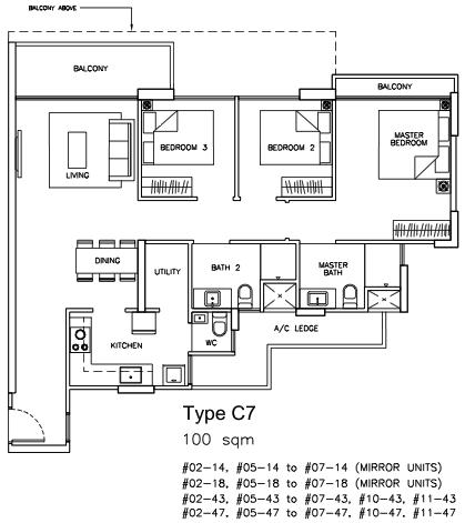 Pasir Ris EC Floor Plans 3 Bedroom Type C7